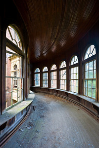 Breezeway connecting the 1854 Kirkbride building with the infirmary ward at Taunton State Hospital.  This site has since been demolished.