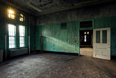 Sunset in the dayroom of the fire-damaged ward at Buffalo State Hospital.
