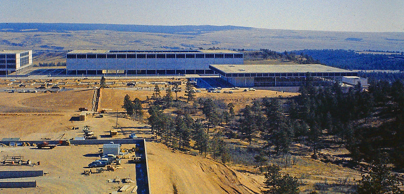 AFA looking east from Chapel Hill. The Dining Hall is at the right