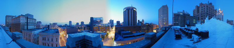 Milwaukee Skyline From Top of Grain Exchange Building (741 N Milwaukee St) About 30 Minutes Before Sunrise