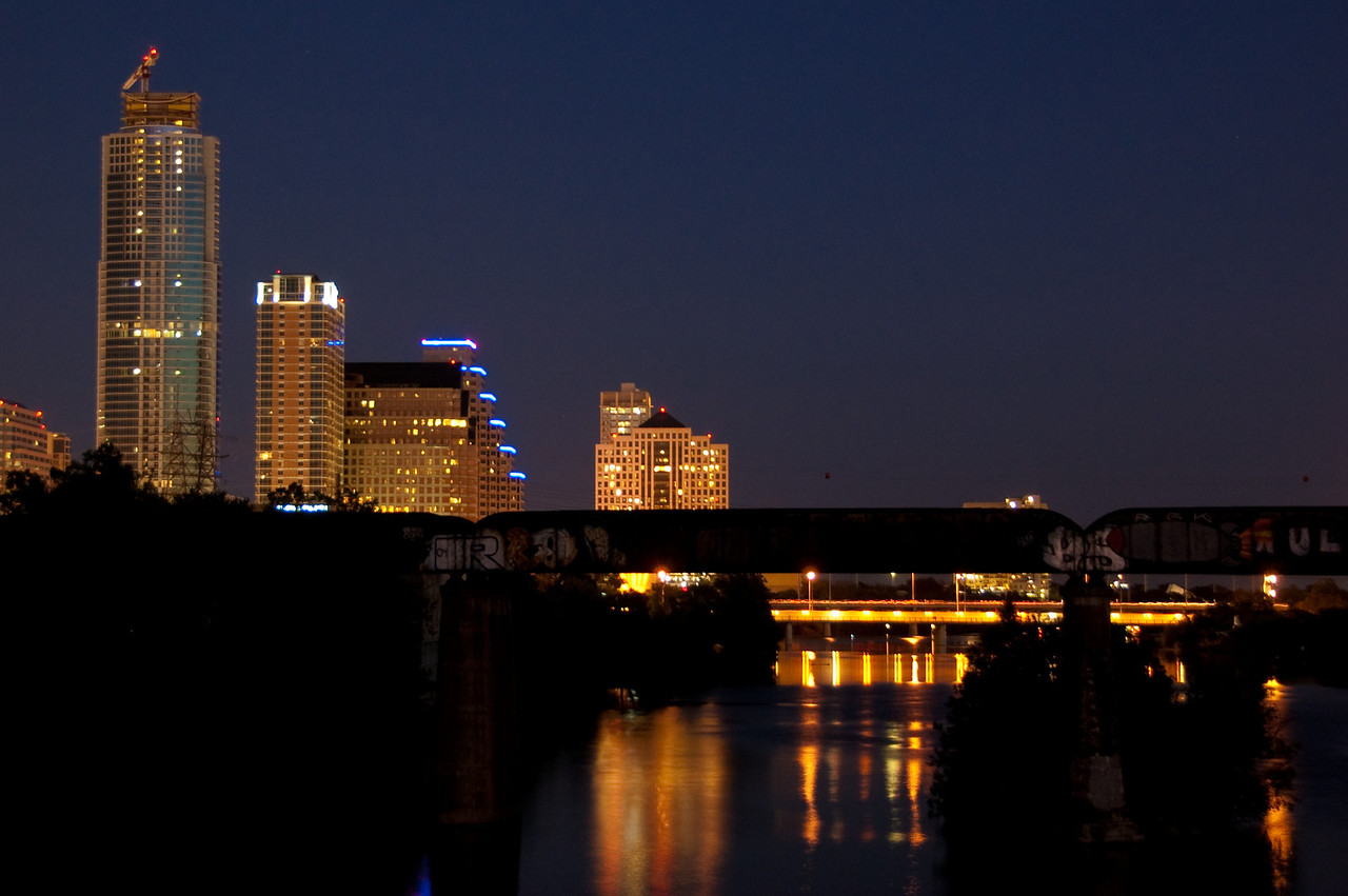 Part of Austin Downtown viewed from the Town Lake Pedestrian Bridge.