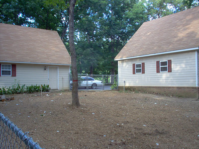 Circa 2007, I had a outfit thin out the trees in the back yard and install a 6' chain link fence. This allowed for the removal of the original small area wooden back yard fence and much more turf for out dogs.