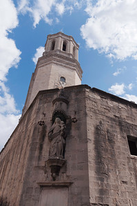 Clock tower of Cathedral in Girona, Spain.