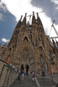 La Sagrada Familia in Barcelona Spain with cranes