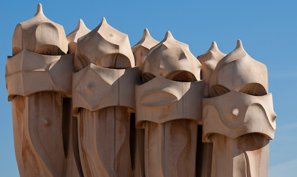 Pens on the roof of a house built by Gaudi, Barcelona