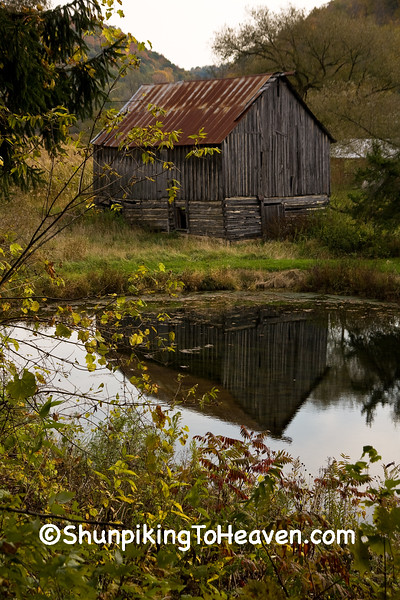 Half-Log Barn with Reflection, Monroe County, Wisconsin