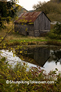 Half-Log Barn with Reflection in Pond, Monroe County, Wisconsin