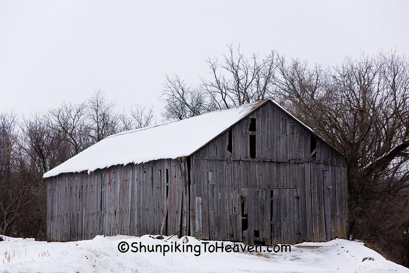 Gray Tobacco Barn in Snow, Dane County Wisconsin