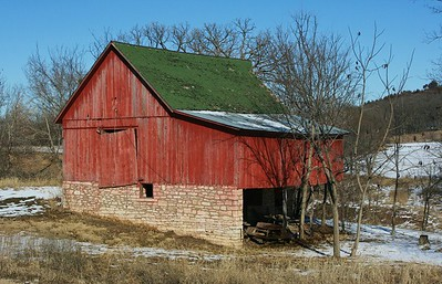 Red barn with stone foundation near Westmoreland, Kansas