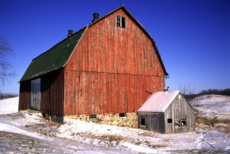 Red Winter barn - Rice County
