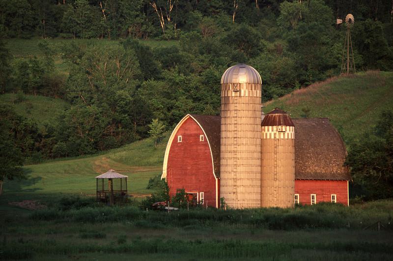 Winona dairy barn at dusk