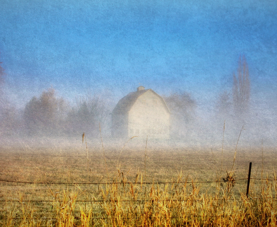 barn in the fog-sunbreak textured2