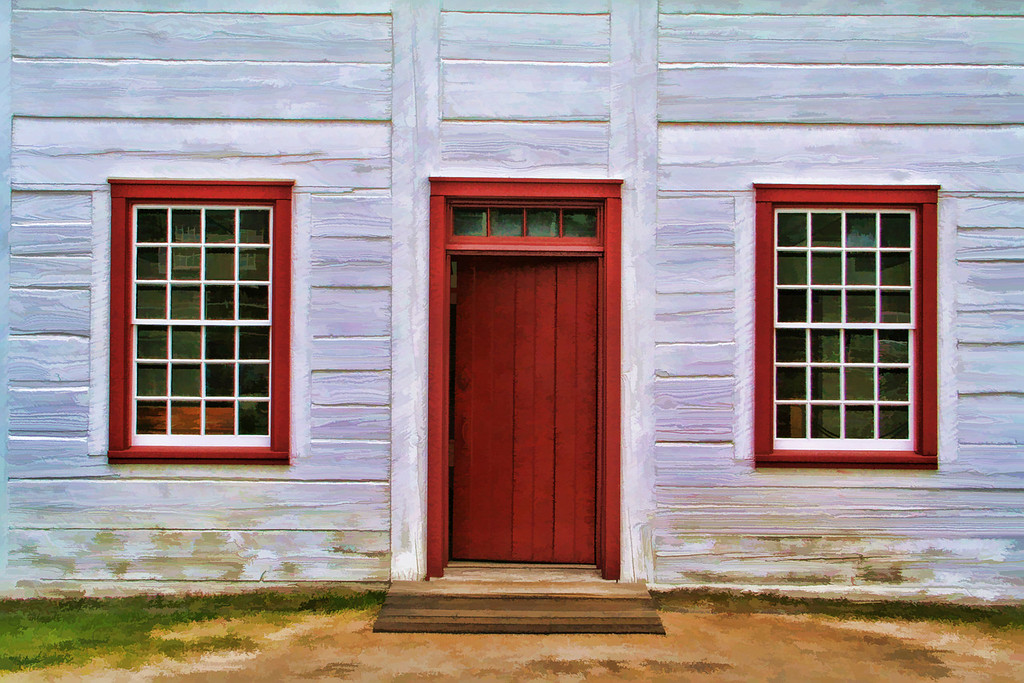 red door and windows