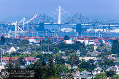 New Oakland-SF Bay Bridge and Old Deconstruction