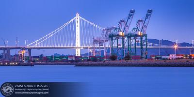 New Bay Bridge and Port of Oakland Cranes