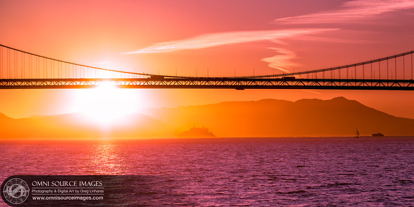Alcatraz Island Under Bay Bridge Sunset