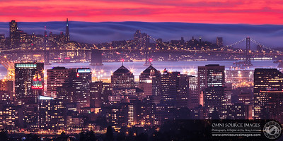 Oakland-SF Fog Bank at Twilight. 12, March 2013 at 6:45 PM. 30 seconds at f/22, ISO 100, 365mm.