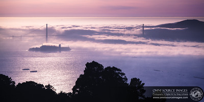 Golden Gate-Alcatraz February Fog Bank.  (1:2 Panorama)