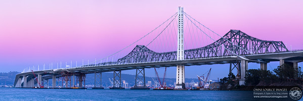 The New Oakland-SF Bay Bridge Eastern Span (Super-HD Panorama 3:1). 7 vertical images digitally stitched for a total of 14,509 x 4836 pixels/300dpi. 0.6 second exposures at f/22, ISO 50, 165mm. Sunday, September 15, 2013 at 7:21 PM.