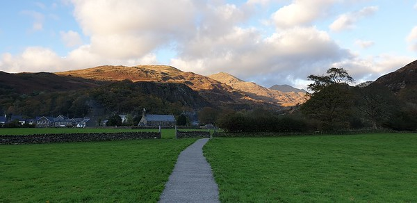Sun on the mountains north of Beddgelert