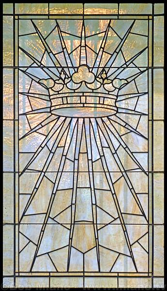 A leaded glass window in the mausoleum of F.B. York.