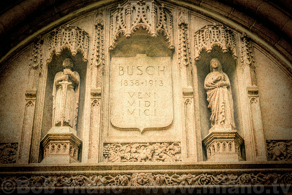 Entrance to the mausoleum of Adolphus Busch.  Veni, Vidi, Vici is Latin for I came, I saw, I conquered.