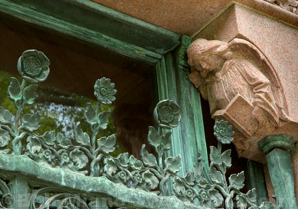 Details at the entrance to Adolphus Busch's mausoleum.