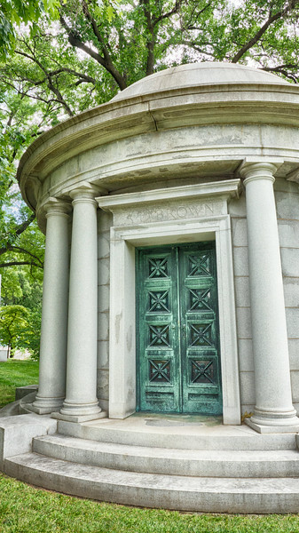 Photo of the A.D. Brown mausoleum at Bellefontaine Cemetery in St. Louis, Missouri.