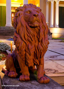 This is one of the lions guarding the entrance to Belmont Mansion.
