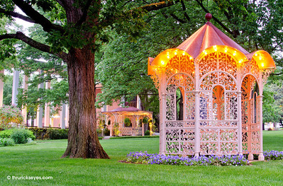 One of the 150-year-old gazebos in the garden / commons at Belmont University.