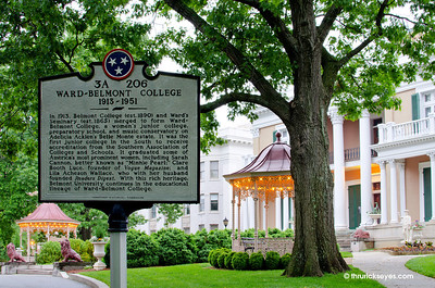 The historical marker describing the beginnings of Belmont University.