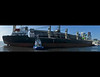 The freighter Apollo docking at Redpath Sugar in Toronto with the assistance of Ocean Laprairie.