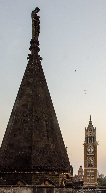 Rajabhai Tower and the Statue of Mercy