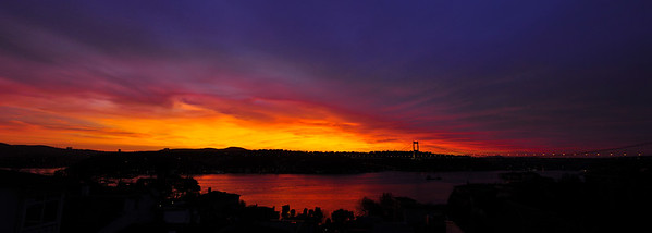 Fatih Sultan Mehmet Bridge and the Bosphorus from Emirgan, Istanbul, Turkey