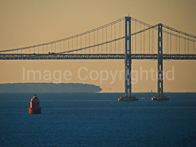 Chesapeake bay bridge and a lighthouse