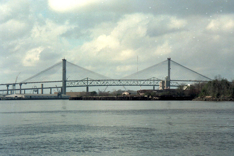 The old and new Talmadge Bridges in 1990.
