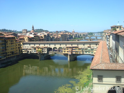 The river Arno, the Ponte Vecchio with the Varisi Corridor, Florence as seen from the Uffizzi  http://en.wikipedia.org/wiki/Ponte_Vecchio