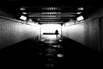 The underpass or tunnel under Cheam Station in Surrey, England.