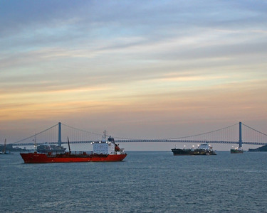 Verazano Narrows Bridge with cargo ships