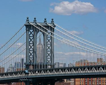Manhattan Bridge with Empire State Building.