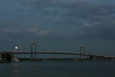Throgs Neck Bridge With full moon rise