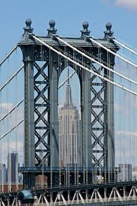 Manhattan Bridge tower with Empire State Building