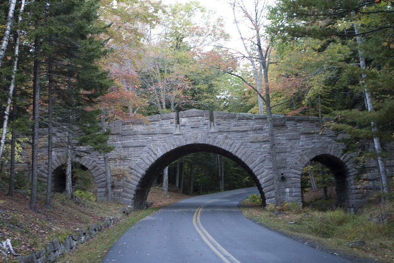 This is a bridge that was hand built.  It is one of the carriage road bridges in Acadia. All of them were unique. Acadia National Park, Maine