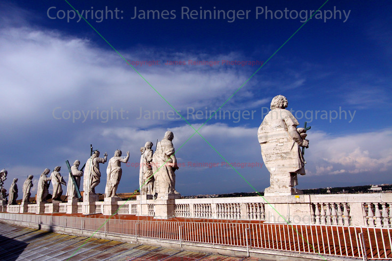 Statues on Top of the Basilica of Saint Peter Facade