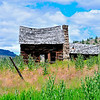 A revisit to the old homestead on Beech Creek, Hwy 395 in John Day Country in Eastern Oregon.  Note the morticed log walls and the solid, intricate stone work in the fireplace chimney.  July 3, 2010 reveals the roof sagging more in this sturdy homesite.  It also reveals a lot of hard work was done but finally the hopes and dreams of this early settler were dashed.  Nor was this just an old bachelor shack but one built to share with a loving helpmate.