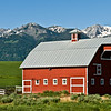 The Red Barn near Joseph, OR with Wallowa Mountains background