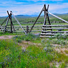 Sturdy log gate of cantilever style, Big Hole Valley south of Jackson, MT