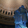 U.S. Capitol Rotunda. I had the white balance set for tungsten light to time expose the ceiling properly, but forgot the flash was set to fire, which caused the funky blue shift on the nearby bronze statue. I decided I kinda liked it!