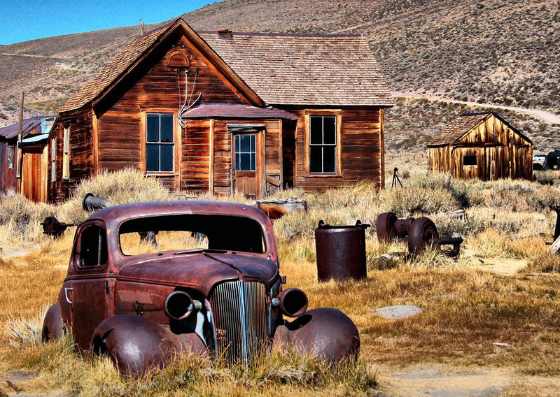 The ghost town of Bodie, Calif. near Mono Lake on the eastern side of the Sierras. Also in the vacinity of Mammoth Lakes.