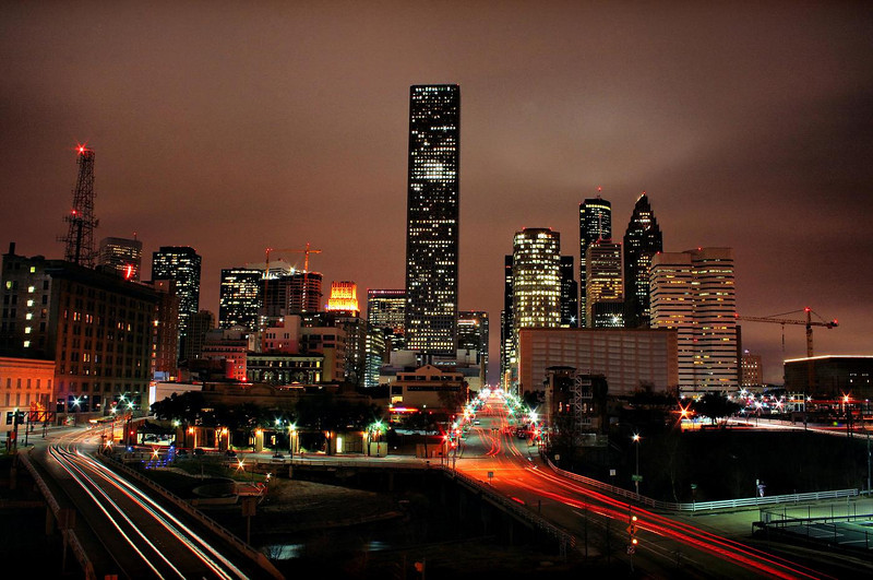 Houston, January 29, 2010. An HDR image of two bracketed exposures , Sky was overcast with a low ceiling. Aperture was f16 at ISO 100, AV program setting, 16 and 30 second exposures. Taken with Canon Rebel Xti and 18-55MM non-stabilized kit lens.